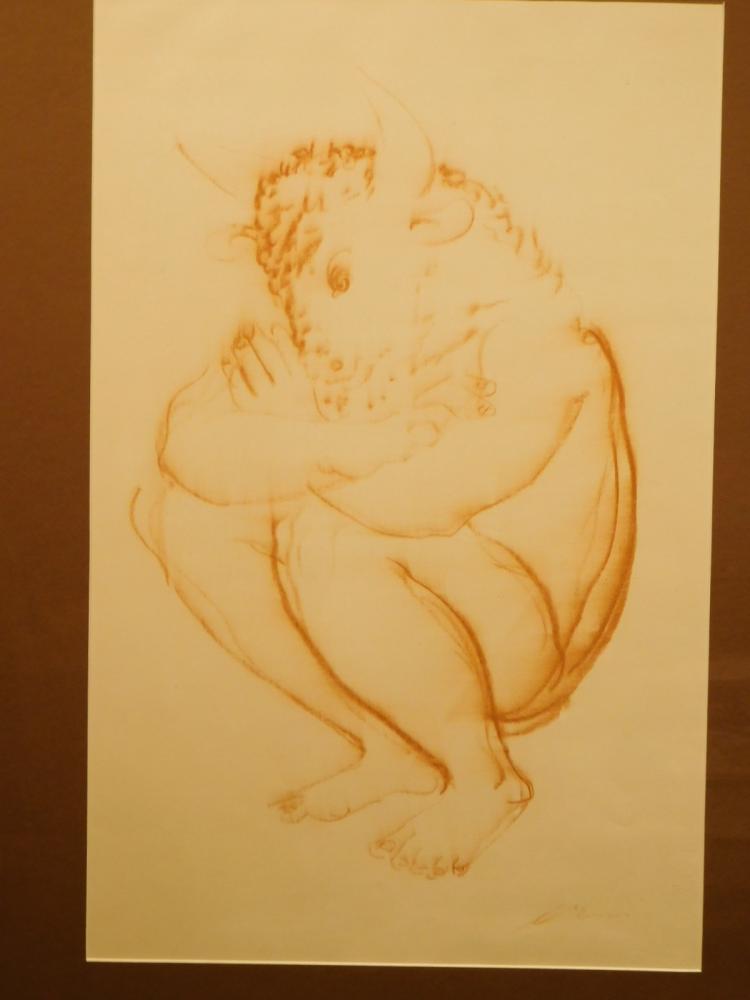 Hans Erni: Minotaur, sanguine drawing, c.1950