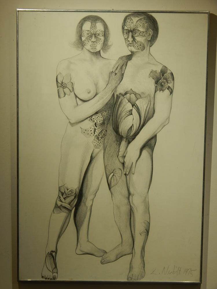 Lowell Nesbitt: Couple With Flower Tattoos, 1975 Drawing