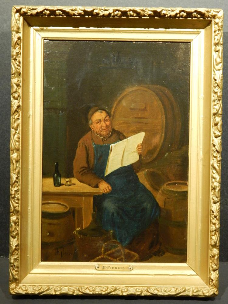 H. Pierre: Monk Reading In Wine Cellar, Oil on Canvas