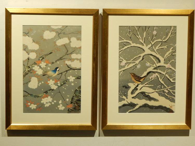 Bafuko Ohno: Pair of Bird Wood Block Prints