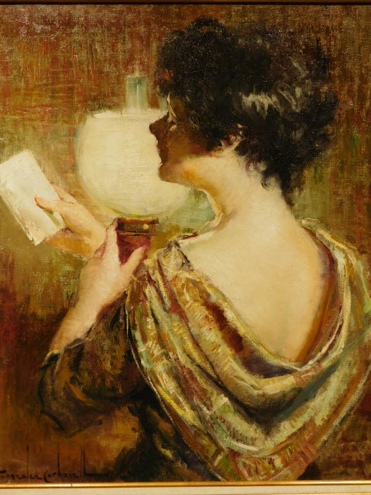 Rosendo Gonzalez Carbonell: Woman Reading with Lamp, Oil