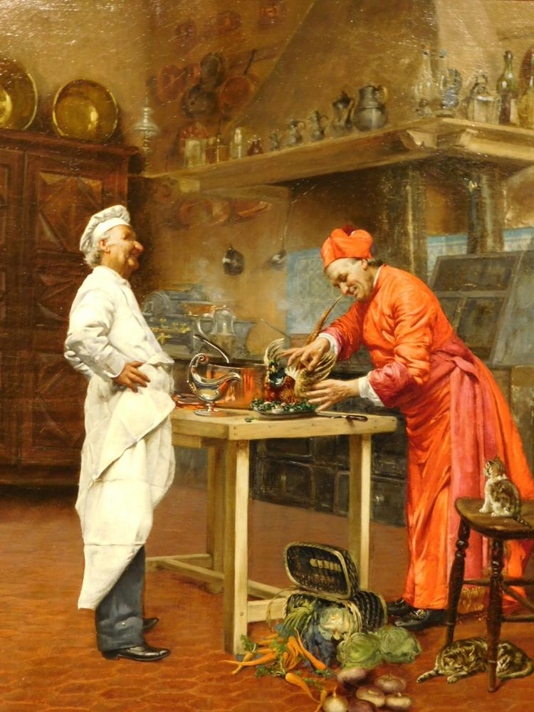 Francois Brunery:  The Cardinal's Touch, c.1900 oil