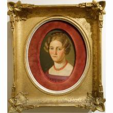 Antique c.1800 German Oil Painting Of Woman