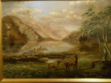 White Mountain School: NH Franconia Notch Landscape Oil c. 1870