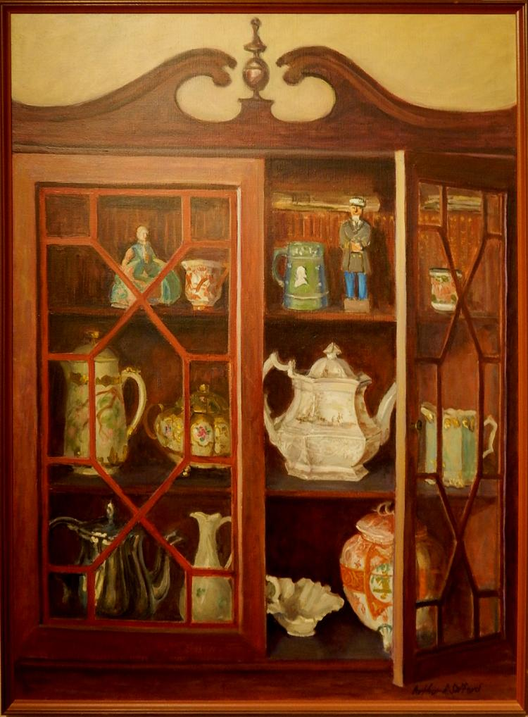 Arthur R. Safford: Still Life Oil Painting Of China Cabinet