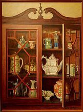 Arthur R. Safford: Still Life Oil Painting Of China Cabinet