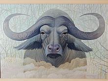 Howard Besnia:  Cape Buffalo Acrylic Painting