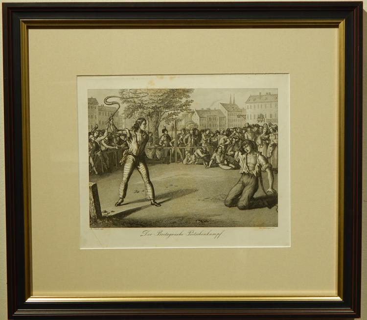 After B. Schein: Breton Whip Fight, 19th C. Engraving