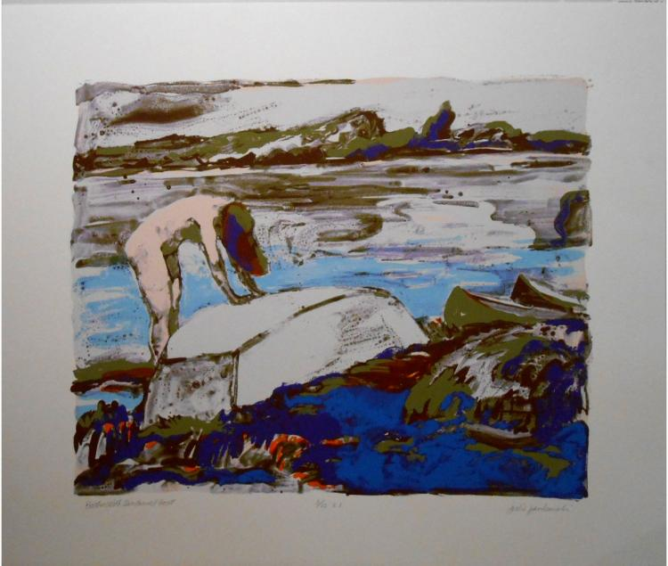 Julie Jankowski: Nude Bather With Boat Serigraph