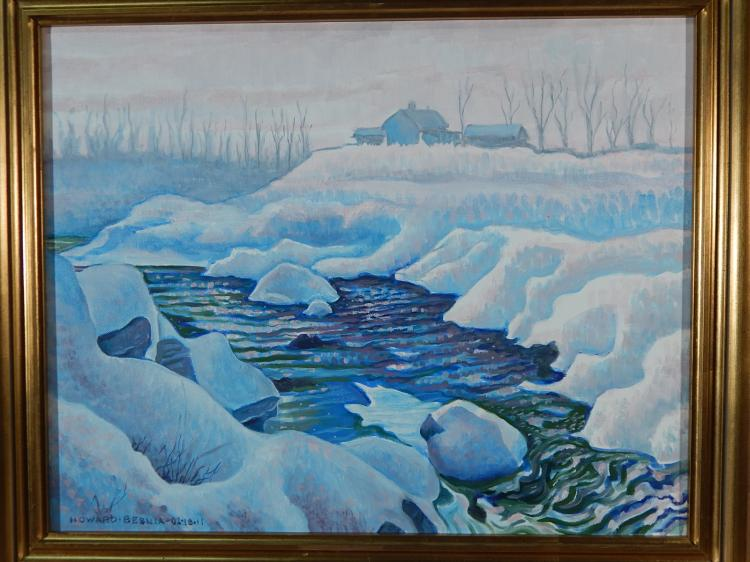 Howard Besnia: Winter Landscape, Oil/Canvas
