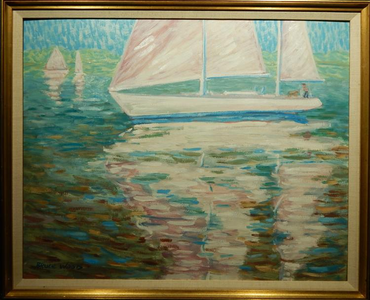 Bruce Wood: Early Light, 1989 Sailing Oil Painting