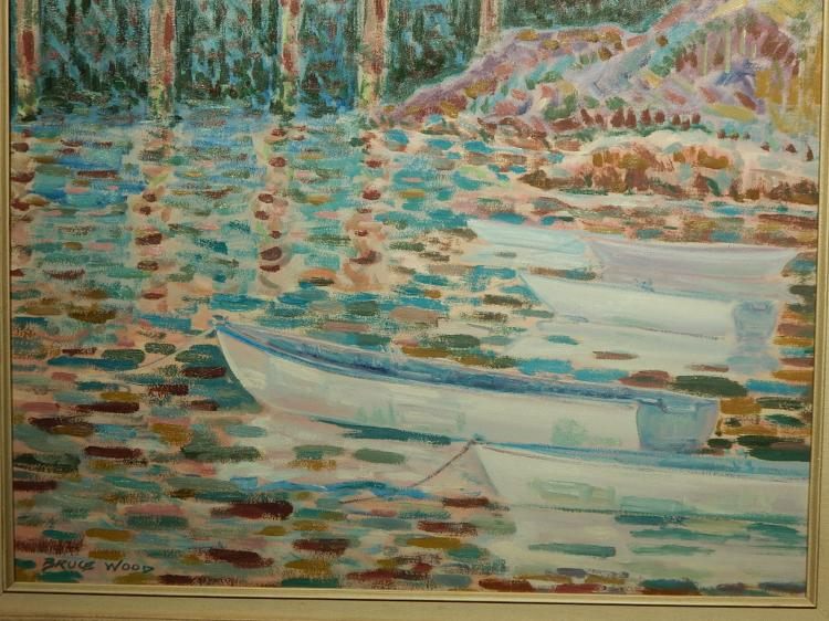 Bruce Wood: Row Boats, Gloucester 1989 Oil Painting