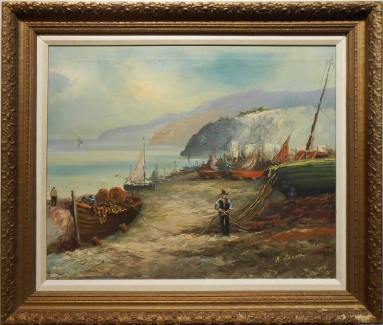 K. Hanna: Fishing Boats On Shore, Oil Painting