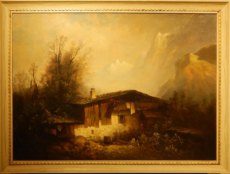 W. Gumman:  Chalet With Mountains, c.1940 Oil on Canvas