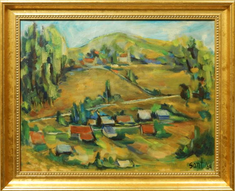 Sant:  1964 Oil Painting of a Hillside Village