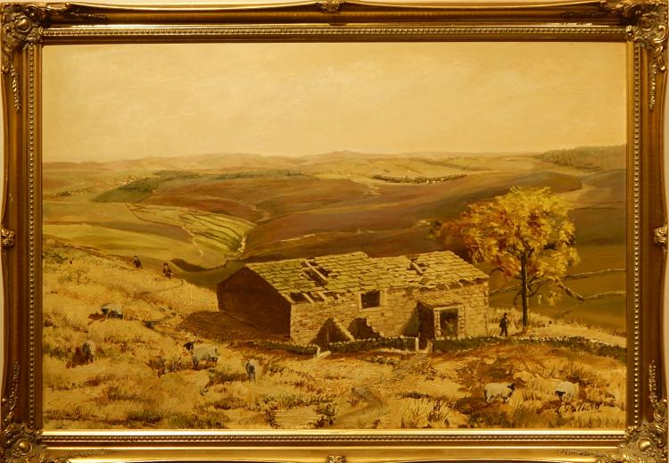 L. Pollara: Landscape With Stone House and Sheep, c. 1970 Oil Painting