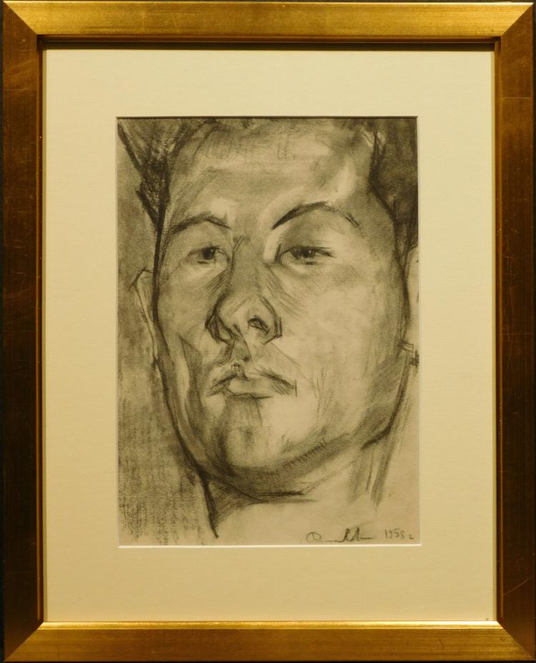Portrait of a Young Man, 1958 Charcoal Drawing
