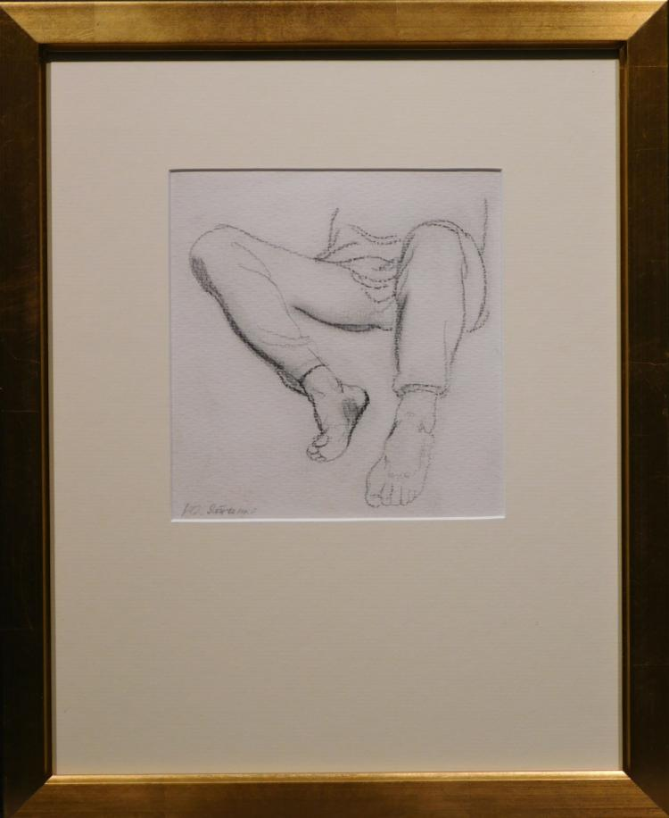 Figure Study of Legs and Feet, Charcoal Drawing c.1958