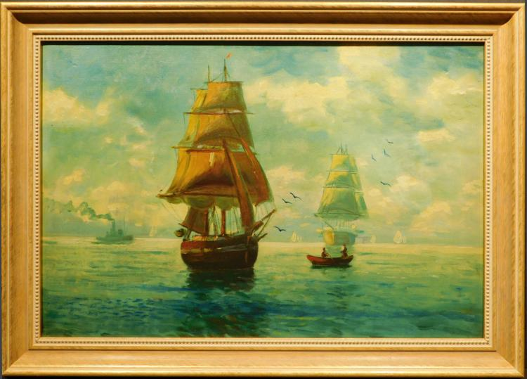 W. Bartal: Harbor Scene With Ships and Boats, Oil Painting