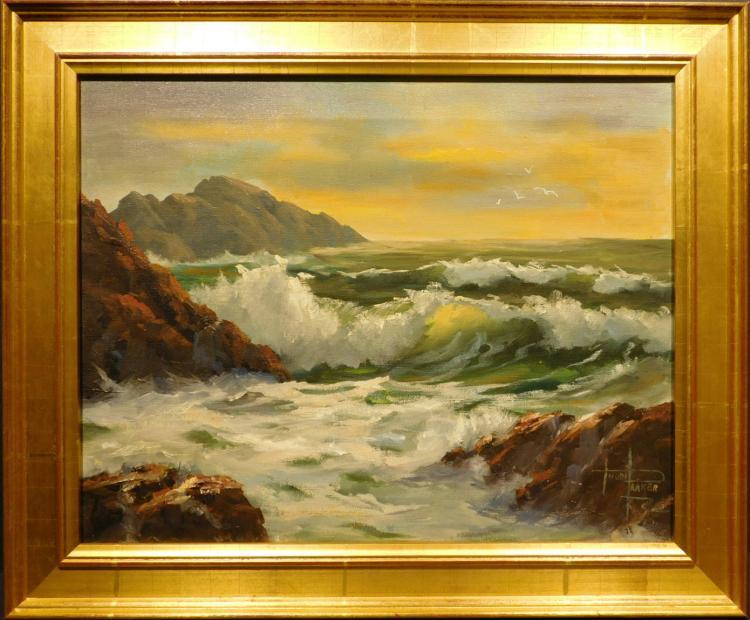 Trudi Parker: Cliff Seascape, Oil c.1960