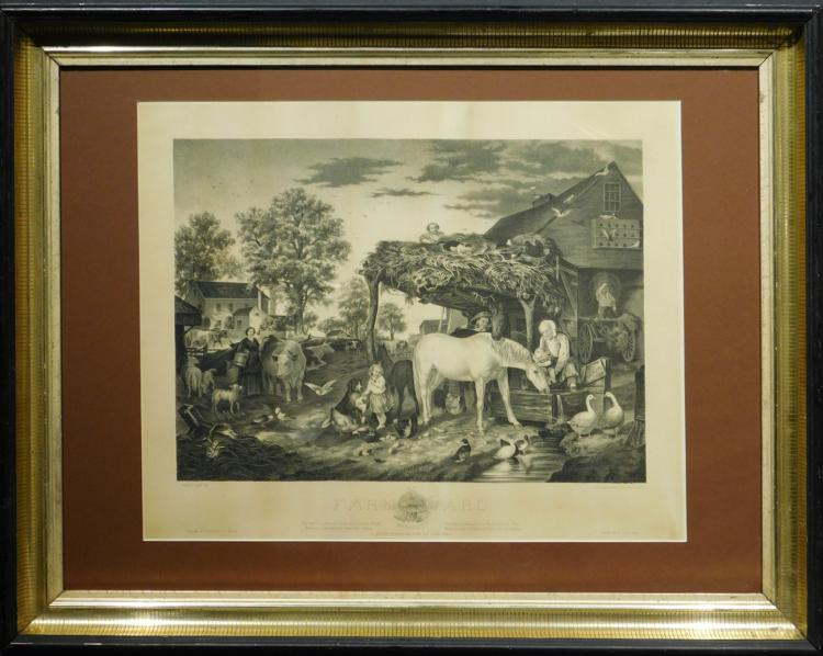 Joseph John: Farm Yard 1874 Engraving
