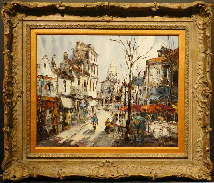 Christophe Charpides: Montmartre Street View Oil Painting