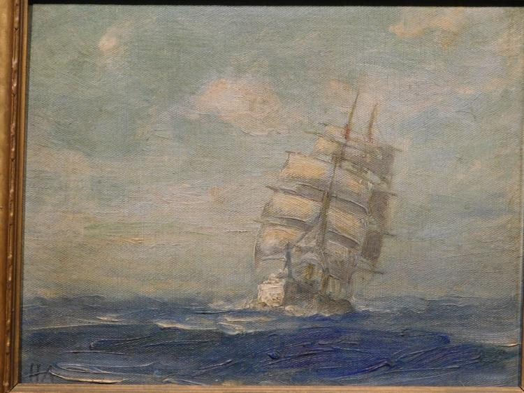 H.A.: Clipper Ship Oil Painting