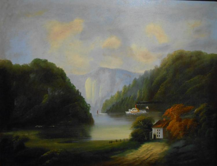 Antique Hudson River Fantasy Oil Painting