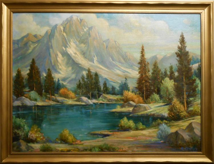 K. Eberlein: Mountain Lake Oil Painting