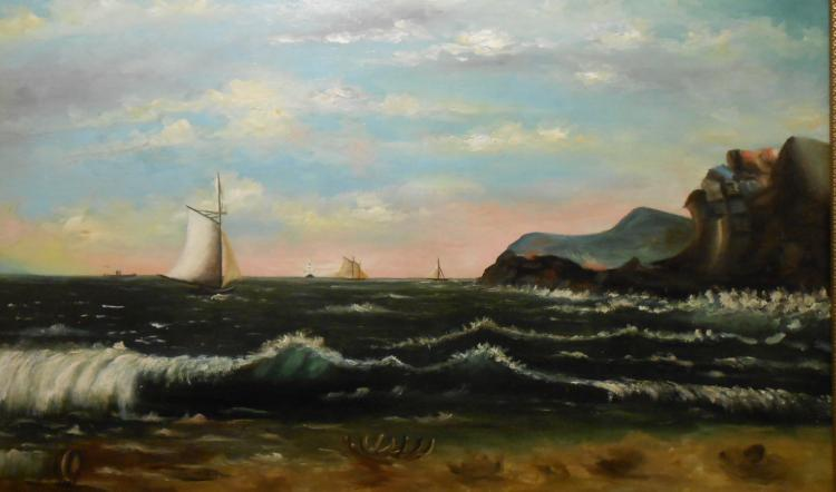 American Seascape Oil Painting c. 1870