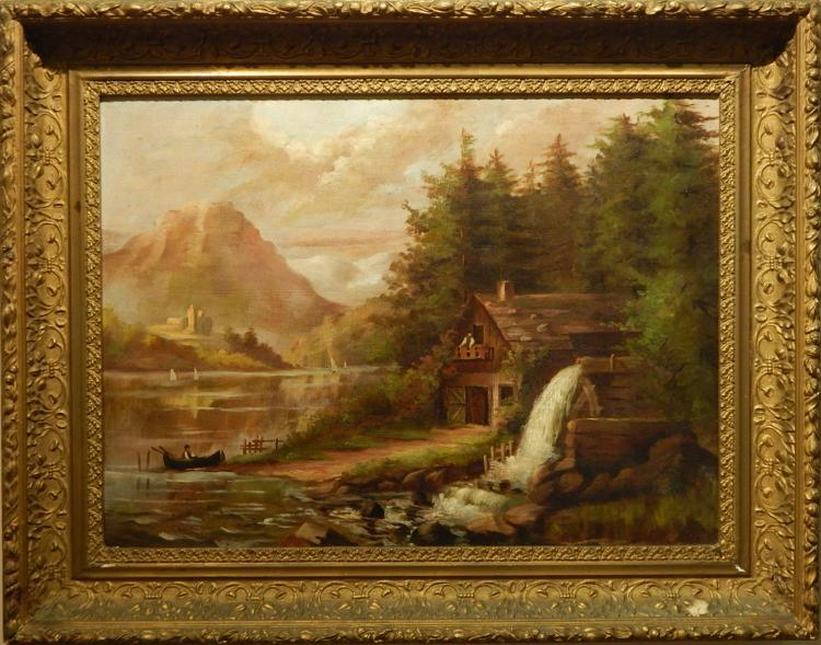 Hudson River School Landscape c.1890 Oil Painting