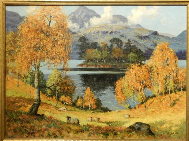 Edwin L Marshall:  Grand Lake, Colorado c.1940 oil painting