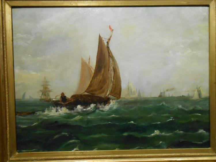 Antique Portland Maine Whaling Marine Oil Painting c.1880