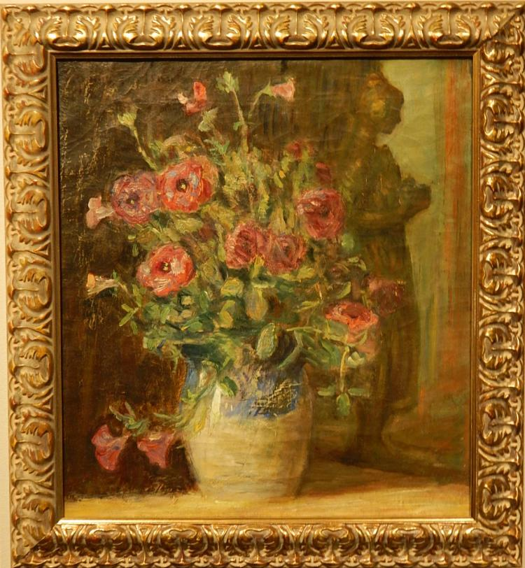 Emma Carlsund: Antique Floral Still Life Oil Painting c.1910