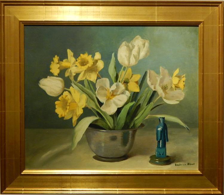 Beatrice Albert: Tulips & Jonquils Still Life Oil Painting c.1940