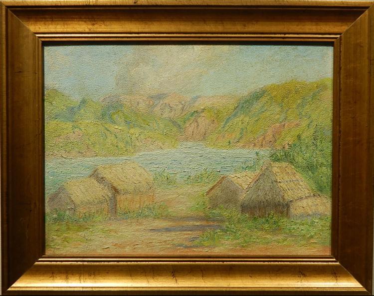 Margaret Morgan Wolfe: 1951 Landscape With Coastal Village