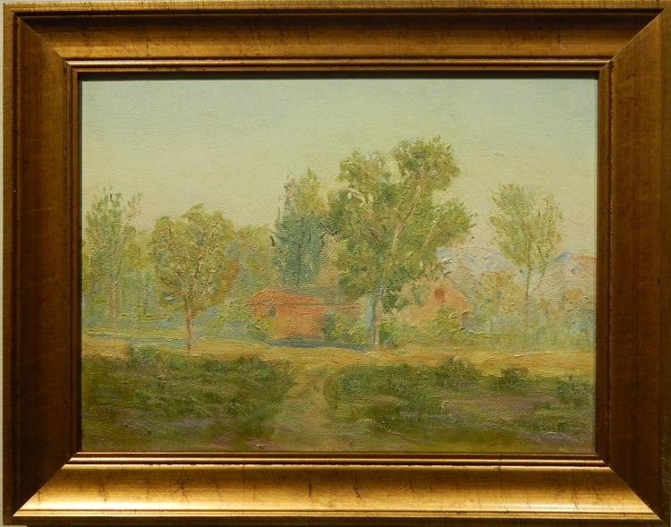 Margaret Morgan Wolfe: 1960 Landscape with House