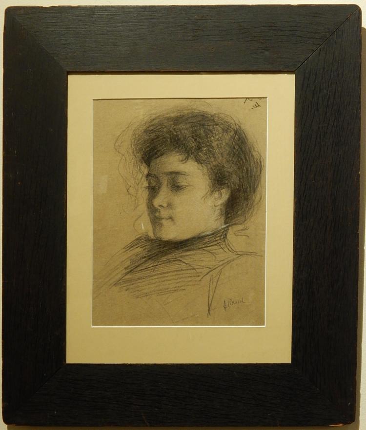 Granville S. Redmond: Portrait of a Woman, Charcoal, c.1893
