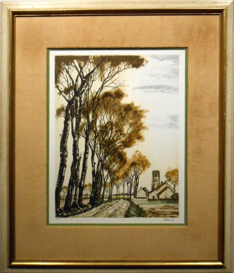 Roger Hebbelinck:  1958 Landscape Lithograph #1