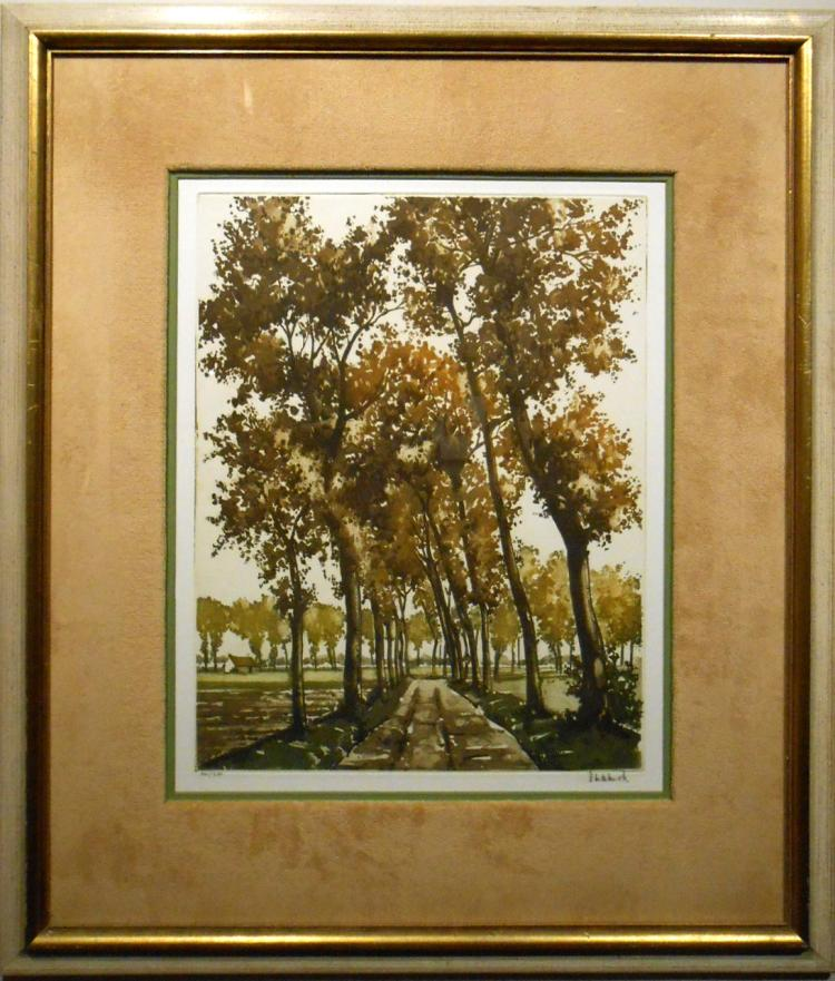 Roger Hebbelinck:  1958 Landscape Lithograph #2