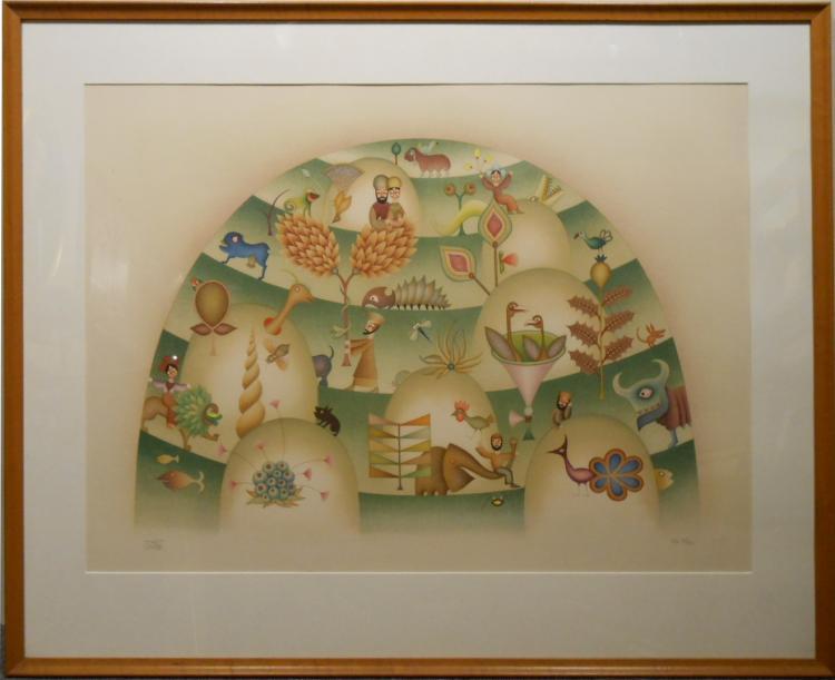 David Sharir: Whimsical Pochoir Print