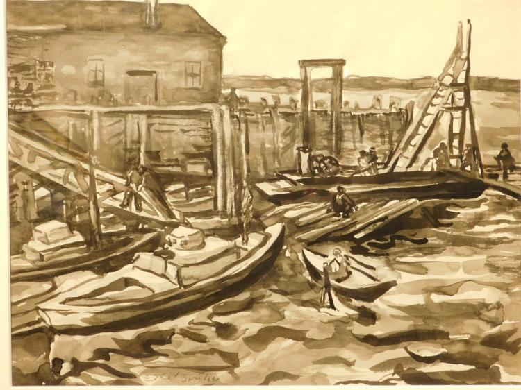 Ethel Swantee: Harbor Scene, ink drawing