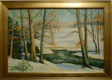 S.E. Armour: Winter View Plein Air Oil Painting