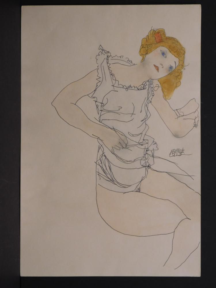 Egon Schiele Seated Woman 1913 Watercolor