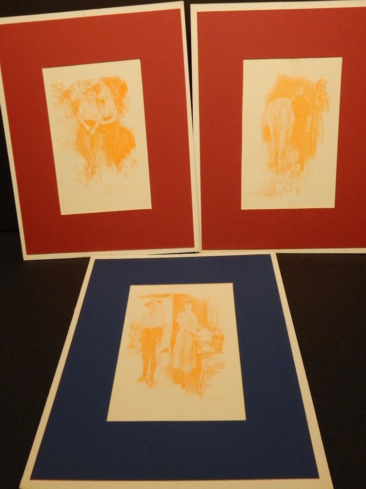 Charles Christy: Three Prints 1910, Horse, Country Folks