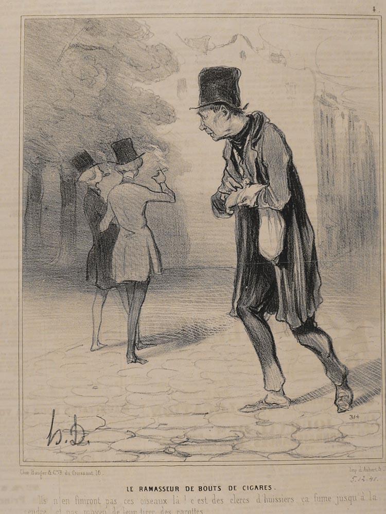 Antique Honore Daumier Pencil Signed Lithograph Le Bon