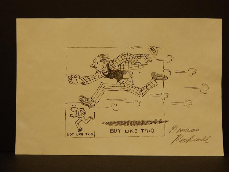 Norman Rockwell: Sketch of Running Man, Signed