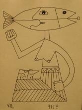 Victor Brauner: Woman, Ink Drawing