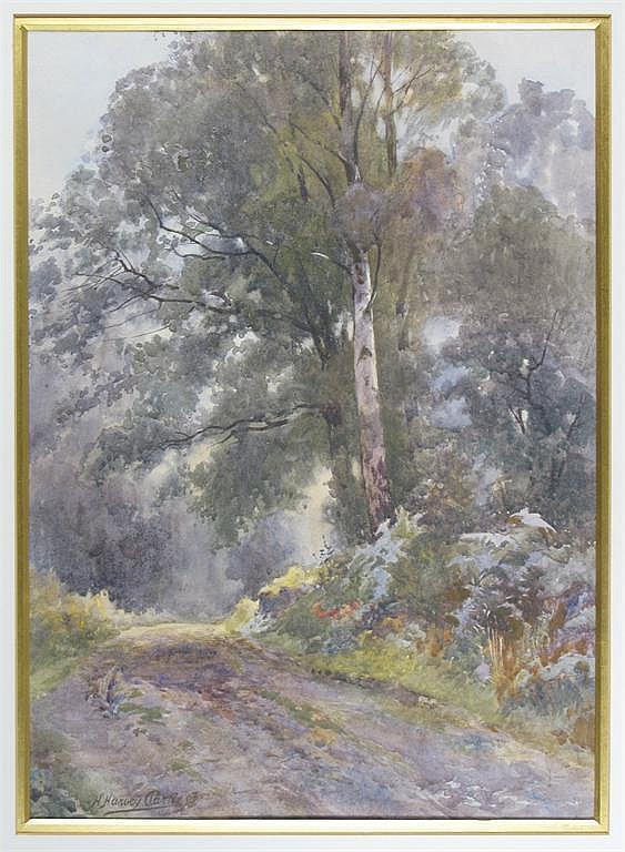 Harry Harvey Clarke (b. 1869) Woodland path Signed