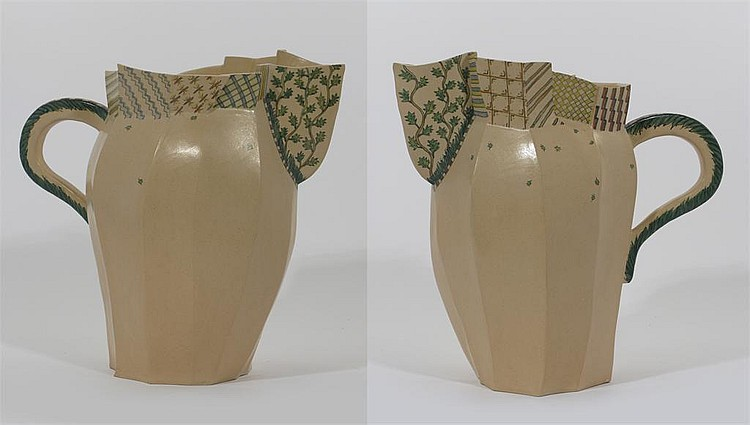 Alison Britton (born 1948) a tall faceted jug, the